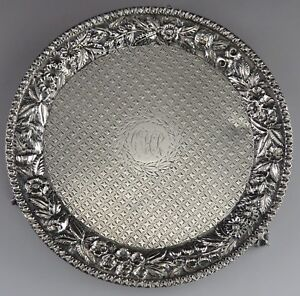 Antique C1885 S Kirk Son Sterling Silver Repousse Floral Card Tray