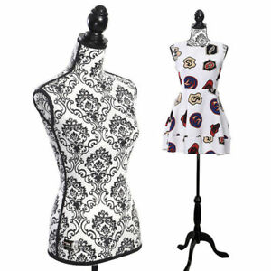 Female Mannequin Torso Dress Form Display W Black Tripod Stand Adjustable New