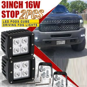 2x 16w Square Led Cube Pods Work Light Spotlight Offroad Truck Bumper Fog Lights