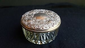 Vintage Silver Plated Trinket Jewelry Box With Crystal Bottom Mirrored Lid