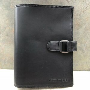 Kenneth Cole Unstructured Black Leather Compact Planner Binder