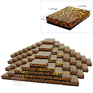 Large 100 Leopard Print Cotton Filled Jewelry Gift Boxes 5 3 8 X 3 7 8 X 1 h