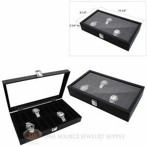 2 Black Wooden Glass Top Display Storage Watch Cases W 18 Removable Holders