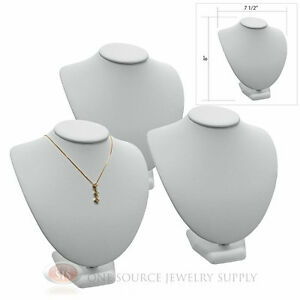 3 8 Pendant Necklace White Leather Neck Form Jewelry Presentation Displays