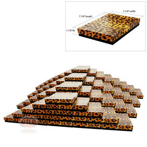 100 Leopard Print Cotton Filled Jewelry Gift Boxes 7 1 8 X 5 1 8 X 1 1 8 h