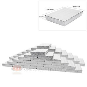 50 Silver Foil Cotton Filled Jewelry Gift Boxes 7 1 8 X 5 1 8 X 1 1 8 h