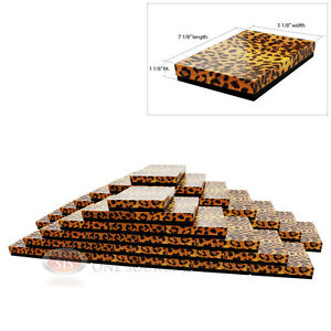 50 Leopard Print Cotton Filled Jewelry Gift Boxes 7 1 8 X 5 1 8 X 1 1 8 h