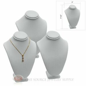 3 7 1 2 Pendant Necklace White Leather Neck Form Jewelry Presentation Display