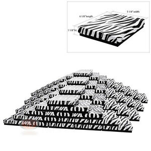 Large 100 Zebra Print Cotton Filled Jewelry Gift Boxes 6 1 8 X 5 1 8 X 1 1 8 h