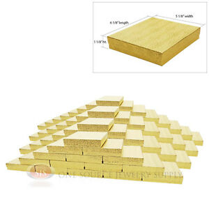 Large 100 Gold Foil Cotton Filled Jewelry Gift Boxes 6 1 8 X 5 1 8 X 1 1 8 h