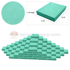 100 Teal Blue Gift Jewelry Cotton Filled Boxes 6 1 8 X 5 1 8 X 1 1 8 Pendant