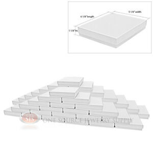 50 White Swirl Cardboard Cotton Filled Jewelry Gift Boxes 6 1 8 X 5 1 8 X 1 1 8