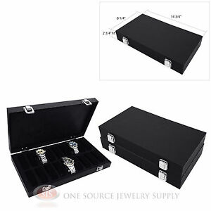 3 Watch Display Storage Cases Wooded W 18 Slots For Organizing And Storing