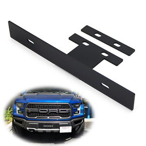 No drill Tow Hook Mount Front License Plate Relocator Bracket For 17 up Raptor