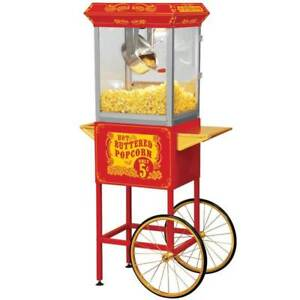 Funtime Full Size Carnival Style 8 Oz Hot Oil Popcorn Machine Cart id 166862