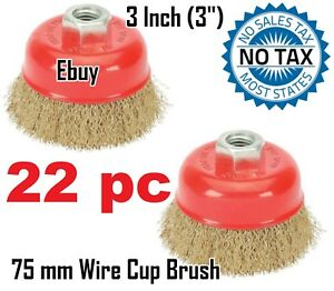 22 Wire Cup Brush 3 75mm For 4 1 2 115mm Angle Grinder Fine Crimped
