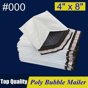 000 4x8 Poly Bubble Mailer Self Padded Envelope Bag 4 x8 25 50 100 200 500 Pcs