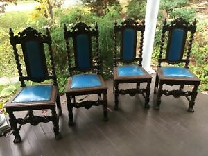 4 English Oak Barley Twist Dining Chairs Upholstered Seat And Back Chairs 1900