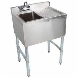 Stainless Steel Under Bar Sink One Compartment Right Drainboard 19 X 24