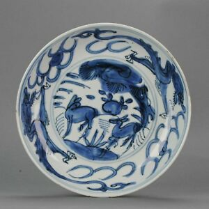Antique Chinese 17c Porcelain Ming Transitional Deer Kraak Dragon Plate