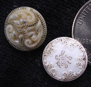 2 Antique Victorian Line Design Molded Glass Buttons