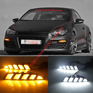 2x Led Drl Light Daytime Running Lamp Turn Signals For Vw Scirocco 2010 2013