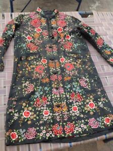 Antique Chinese Embroidered Silk Robe Qing Dinasty 19th C Kimono Dress Peking