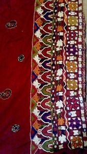 Antique Hand Embroidery Bohemian Pakistani Sindhi Long Panel Ethnic Rare Old Art