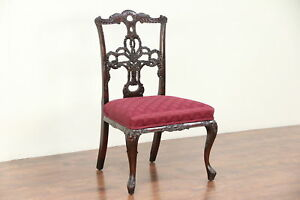 Irish Chippendale Antique Carved Desk Or Side Chair New Upholstery 29751