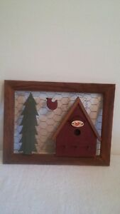 Primitive Country Birdhouse Wall Hanging Picture With Key Holder Hooks