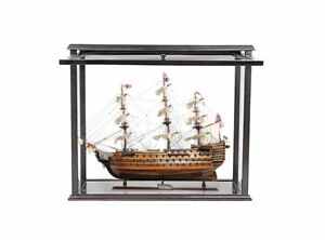 Hms Victory Admiral Nelson Tall Ship Wood Model W Display Front Open Assembled