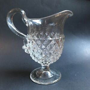 Eapg Glass Pitcher Milk Creamer Diamond Point Hobnail Applied Handle 3 Seams
