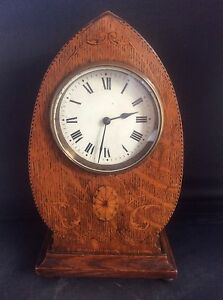 Arts Crafts English Oak Inlaid Wood Banding Mantle Clock French Movement