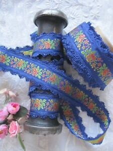Vintage Blue French 1930 S Rayon Jacquard With Orange Flowers Ribbon Trim 1 Yd