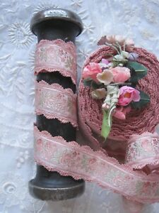 Vintage Pink French 1930 S Rayon Jacquard With Pink Flowers Ribbon Trim 1 Yd