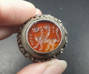 Beauteous Red Stone Agate Intaglio Lion Wing Silver Man Size 9 5 Us Ring Rsb34