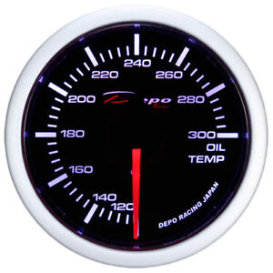 52mm Depo Racing Oil Temperature Gauge White Ws W5247b Smoked Lens