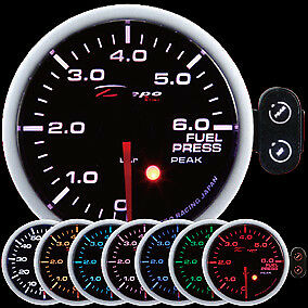 52mm Depo Racing Fuel Pressure Gauge Peak Warning Bar 7 Color