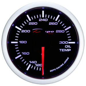 52mm Depo Racing Oil Temperature Gauge White 0 300 F Ws W5247b Smoked