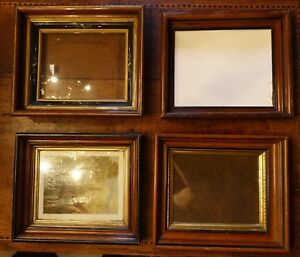 Lot Of 4 Victorian Walnut Deep Well Shadow Box Picture Frames For 8x10