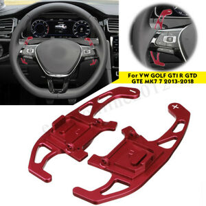 2x Red Steering Wheel Shift Paddles Shifter For Vw Golf Gti R Gtd Gte Mk7 13 18