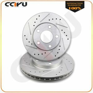 For 1994 2004 Ford Mustang Base Or Gt Front Drilled Slotted Rotors Pair Set