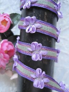 Vintage French Purple Lavender Green And Pink Ribbon Work Ribbon Trim 1 Yard