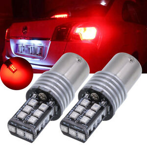 2pc Set Red 1156 15 Smd 2835 Led 12 24v Canbus Car Rear Signal Light Us