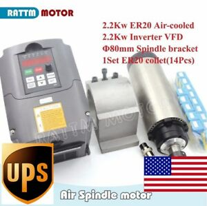 us Stock 2 2kw Air Cooled Spindle Motor Er20 2 2kw Inverter 80mm Clamp collet