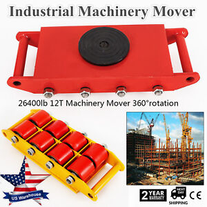 Industrial Machinery Mover With 360 Rotation 12 Ton 26 400lb capacity 8 rollers