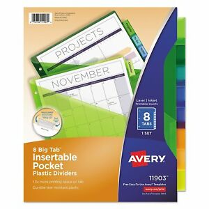 Avery 11903 Insertable Big Tab Plastic Dividers W single Pockets 8 tab 11 1 8