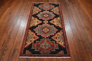 Vintage Persian Hamadan Design Rug 3 X7 Blue Red All Wool Pile