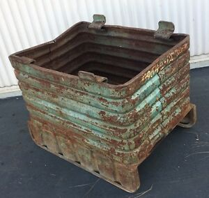 Vintage stackable Steel Box material Handling Bulk Container Id32 X 22 X 18