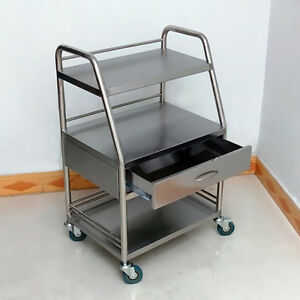 Medical Lab Dental Trolley Three Layers Cart With One Drawer Stainless Steel Gt